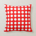 Lovely polka dots white on red square pillow