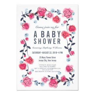 Lovely Pretty Pink Floral Baby Shower Invite Girl