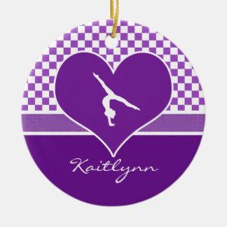 Lovely Purple Checkered Gymnastics with Monogram Christmas Ornament