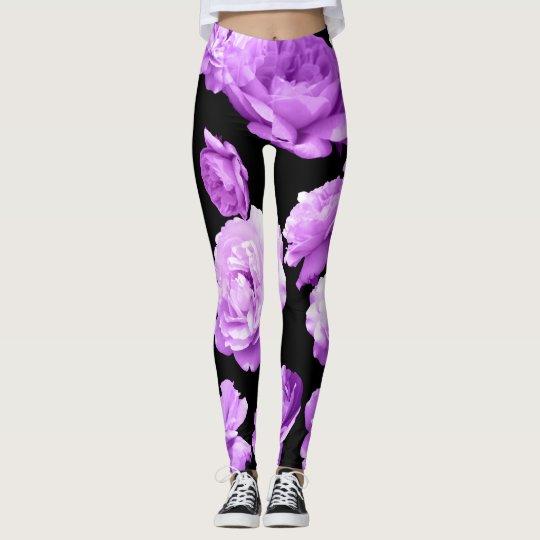 Lovely Purple Roses Athleisure Yoga Pants Leggings