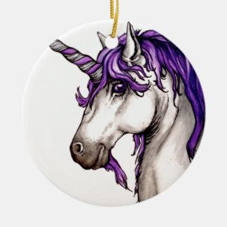 Lovely purple unicorn christmas ornament
