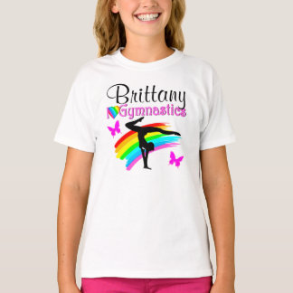 LOVELY RAINBOW AND BUTTERFLY PERSONALIZED GYMNAST T-Shirt