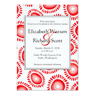 Lovely red funky flowers wedding invitation