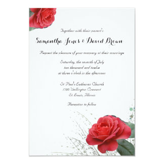 Lovely Red Rose Custom Wedding Invitation
