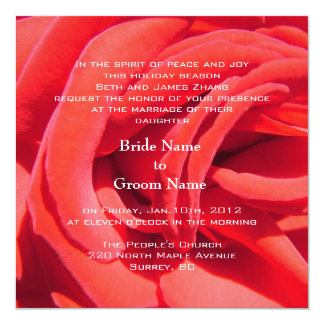 lovely red rose flower wedding 13 cm x 13 cm square invitation card