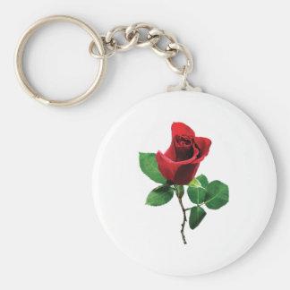 Lovely Red Rosebud Basic Round Button Key Ring