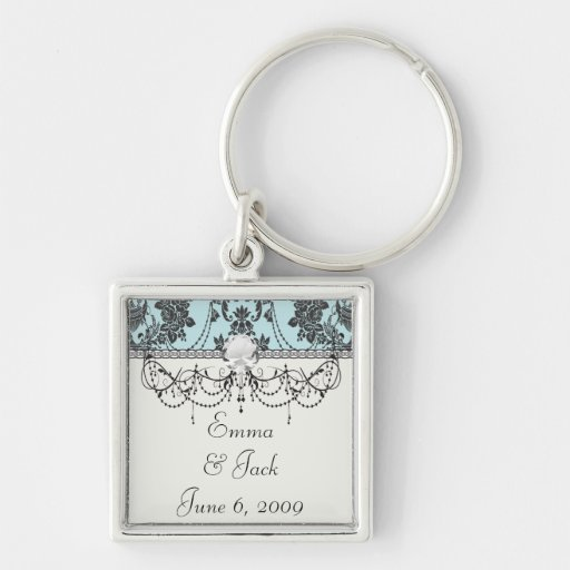 Lovely rose black and baby blue damask Silver-Colored square key ring