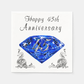 Lovely Sapphire 45th Wedding Anniversary Napkins Disposable Napkins