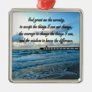 LOVELY SERENITY PRAYER OCEAN AND WAVES PHOTO Silver-Colored SQUARE DECORATION
