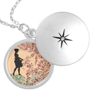Lovely Silhouette Girl In Peach Silver Plated Necklace