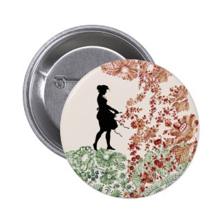 Lovely Silhouette Girl With Lace 6 Cm Round Badge