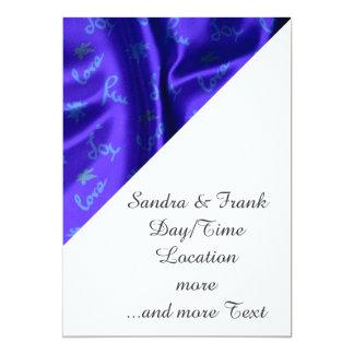 Lovely Silk blue 13 Cm X 18 Cm Invitation Card