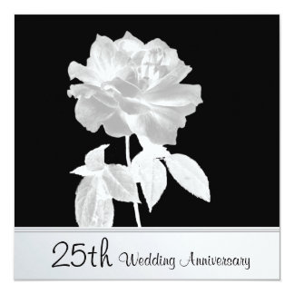 Lovely Silver Rose 25th Wedding Anniversary Party 13 Cm X 13 Cm Square Invitation Card