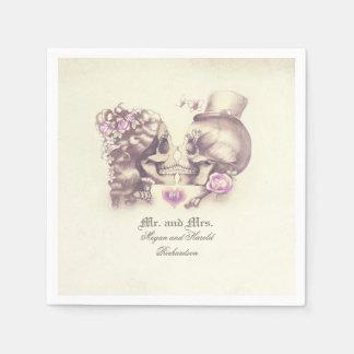 Lovely Skull Couple Purple Wedding Paper Napkin
