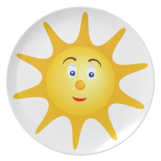 Lovely smiling sun face plate