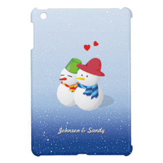 Lovely Snowman Couple with your Names Case For The iPad Mini