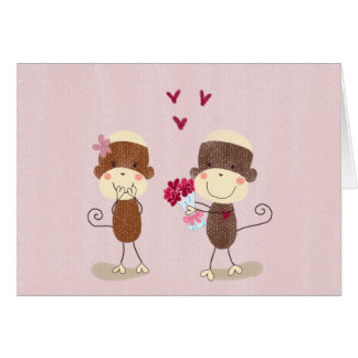 Lovely Sock Monkey Couple Valentine Card