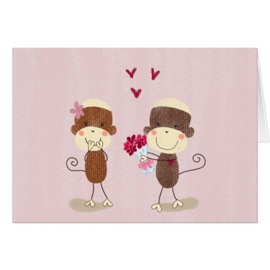 Lovely Sock Monkey Couple Valentine Card