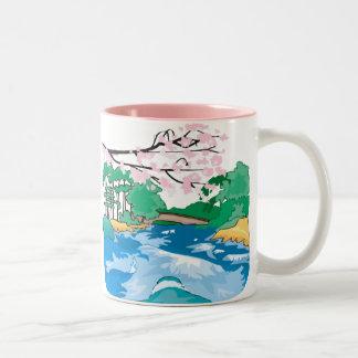 Lovely Stream and Cherry Blossoms Mug