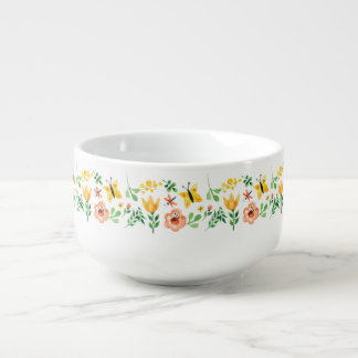 Lovely summer hand painted flowers and butterflies soup bowl with handle