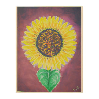 Lovely sunflower wood print