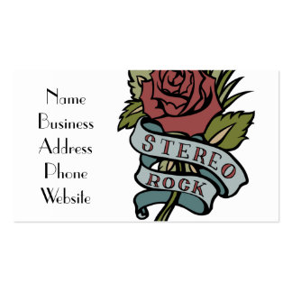 """lovely tattoo flowers""""stereo rock"""" red and green pack of standard business cards"""