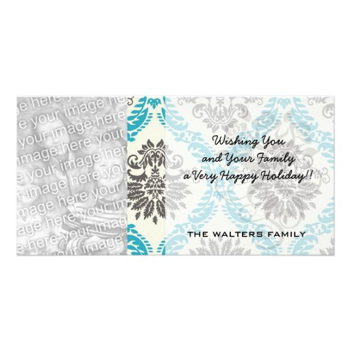 lovely taupe cream aqua blue ornate damask custom photo card