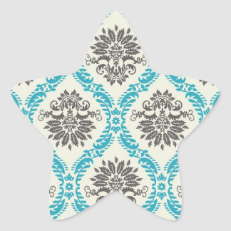 lovely taupe cream aqua blue ornate damask star sticker