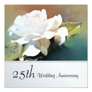 Lovely Tea Rose 25th Wedding Anniversary Party 13 Cm X 13 Cm Square Invitation Card