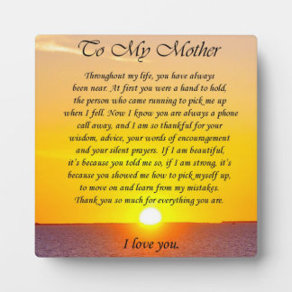 """Lovely """"To My Mother"""" Thank You Poem Plaque"""