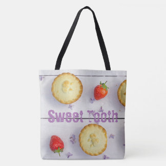 Lovely tote bag with photo of cupcakes and text