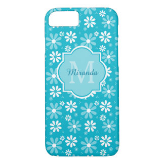 Lovely Turquoise Daisy Flowers Monogram and Name iPhone 8/7 Case