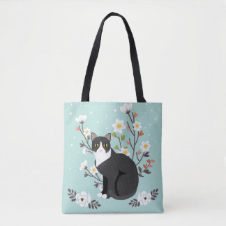 Lovely Tuxedo Cat in Flowers All-Over-Print Tote