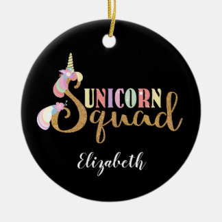 Lovely Unicorn Squad Gold Glitter Fantasy Christmas Ornament