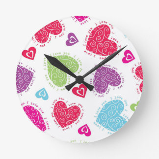 "Lovely Valentine's Day hearts and ""I love you""text Clock"