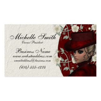 Lovely Victorian Woman w Flowers Business Cards