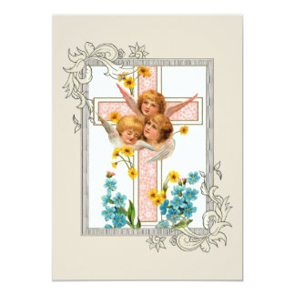 Lovely Vintage Angels With Pink Cross Card