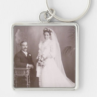 Lovely Vintage Antique Bride and Groom Cards, Gift Key Ring