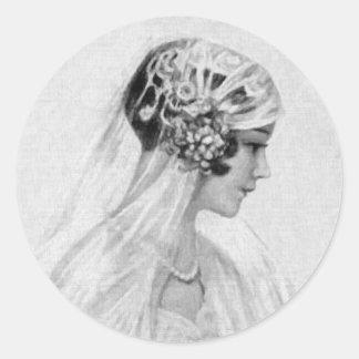Lovely Vintage Bride, Grayscale Round Sticker