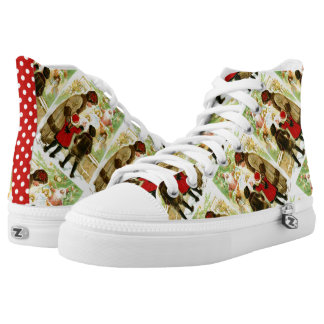 Lovely Vintage Christmas Illustration High Tops