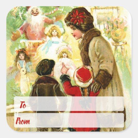 Lovely Vintage Christmas Illustration Square Sticker