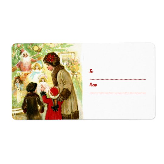 Lovely Vintage Christmas Illustration To From Gift