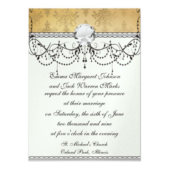 lovely vintage distressed gold damask card