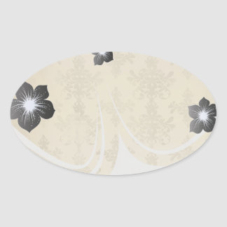 lovely vintage distressed gold damask oval stickers