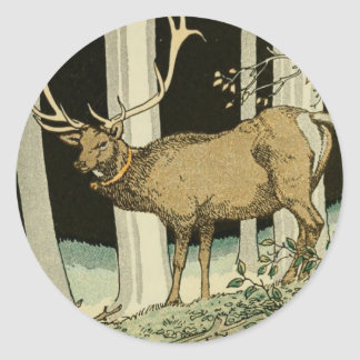 Lovely Vintage Elk Illustration Woodland Creatures Classic Round Sticker