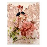 Lovely Vintage Lady In Pink Dress Postcard