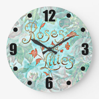 Lovely Vintage Old Roses and Lilies Collage Large Clock