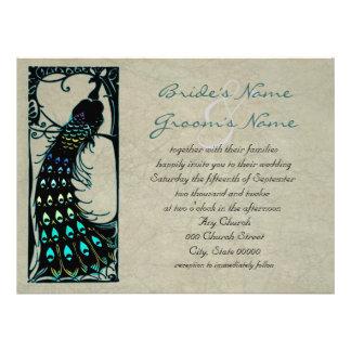 Lovely Vintage Peacock Art Nouveau Wedding Custom Invitation