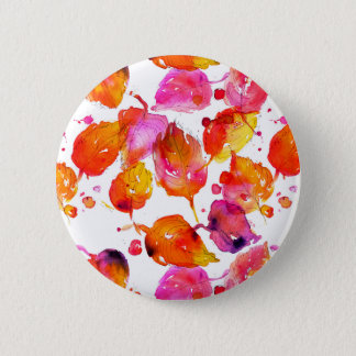 Lovely watercolor autumn leaves  pattern 6 cm round badge