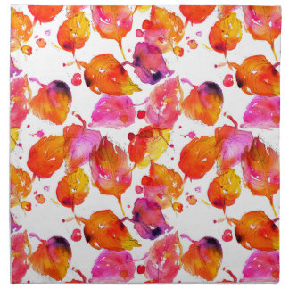 Lovely watercolor autumn leaves  pattern napkin